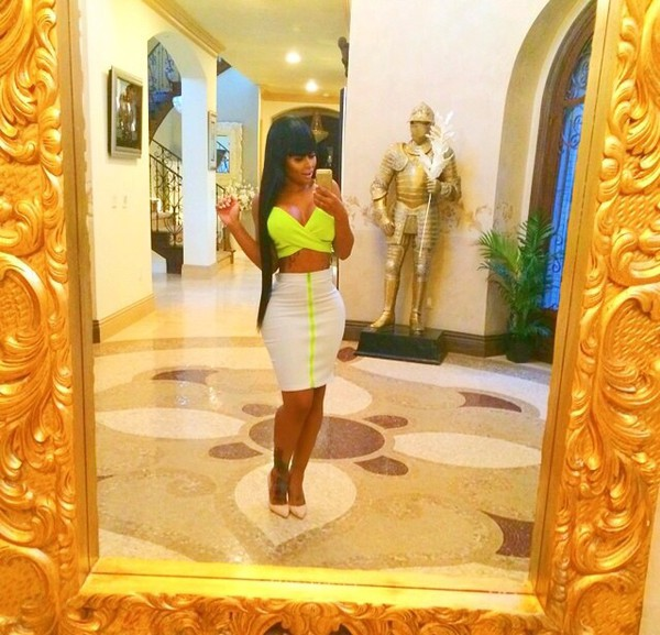 top blac chyna neon color skirt