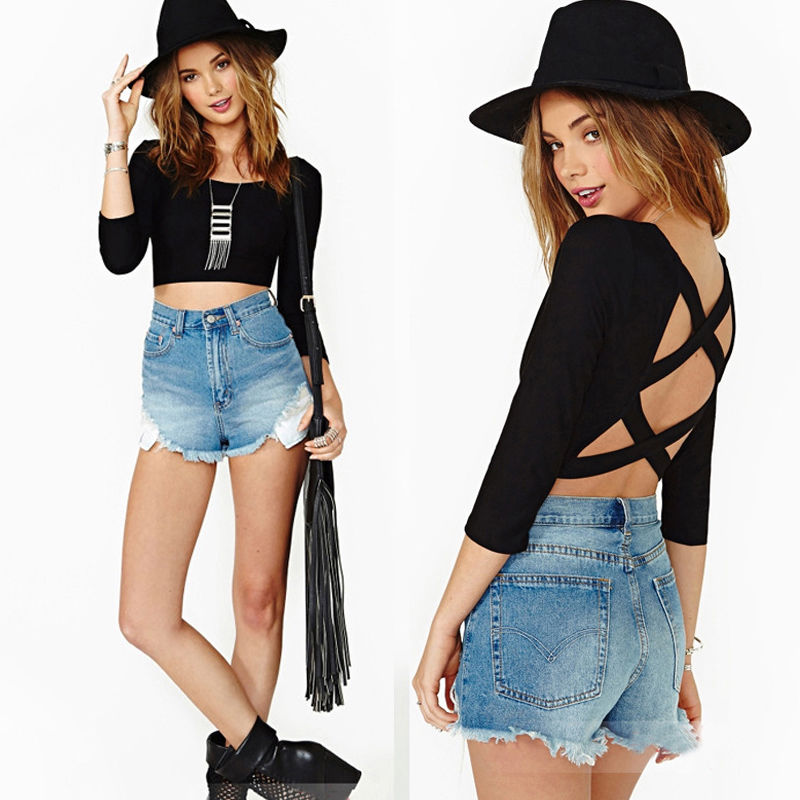 Womens Sexy Backless Blouse Tops Scoop Neck Casual hlaf Sleeve T Shirt Crop Top | eBay