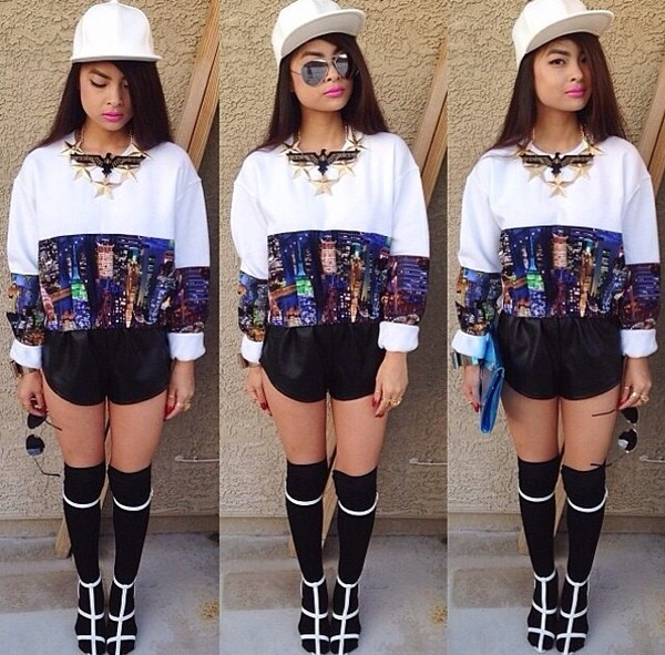 sweater city jumper white jumper oversized sweater shorts jewels hat shoes