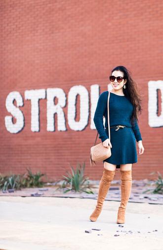 cute & little blogger belt shoes bag jewels sunglasses thigh high boots boots blue dress knitted dress mini dress nude bag