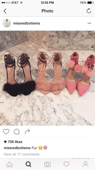shoes lace up heels high heels nude heels fluffy stilettos high heel sandals girly clueless party shoes pom poms pink heels nude heels black heels fluffy heels furry heels fuzzy heels pink black fashion trendy pointed toe pumps fur