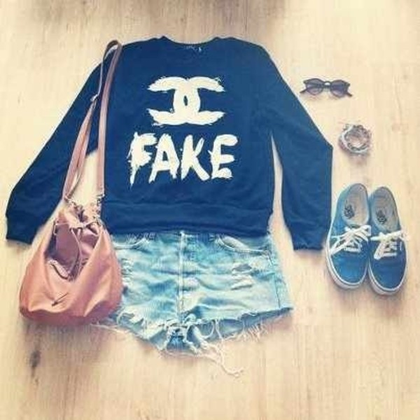 sweater fake chanel bag printed sweater shorts sunglasess