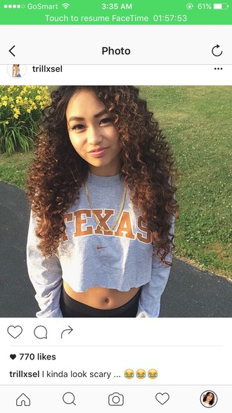 shirt grey nike sweater cropped sweater texas