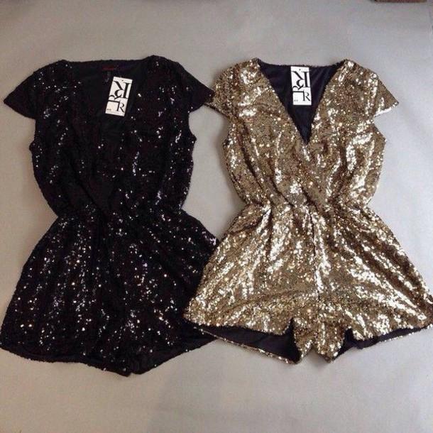 jumpsuit dress sequin dress romper sparkle new year's eve sequins black or gold glitter christmas romper gold playsuit sequins glitter dress black playsuit gold sequins black gold v neck