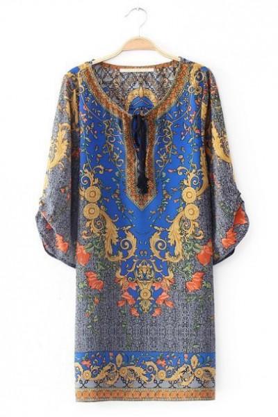 KCLOTH Indie Fashion Bohemian Floral Printed Dress with Pom Pom