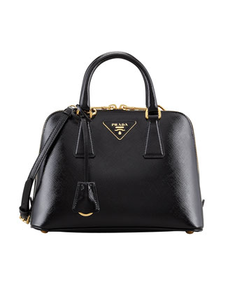 Prada Saffiano Vernice Promenade Crossbody Bag, Black - Neiman Marcus