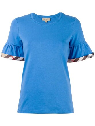 t-shirt shirt women spandex cotton blue top