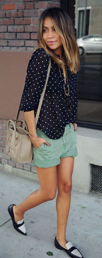 shoes loafers bicolor polka dots shorts green black white streetstyle outfit idea summer laidback casual moccasins