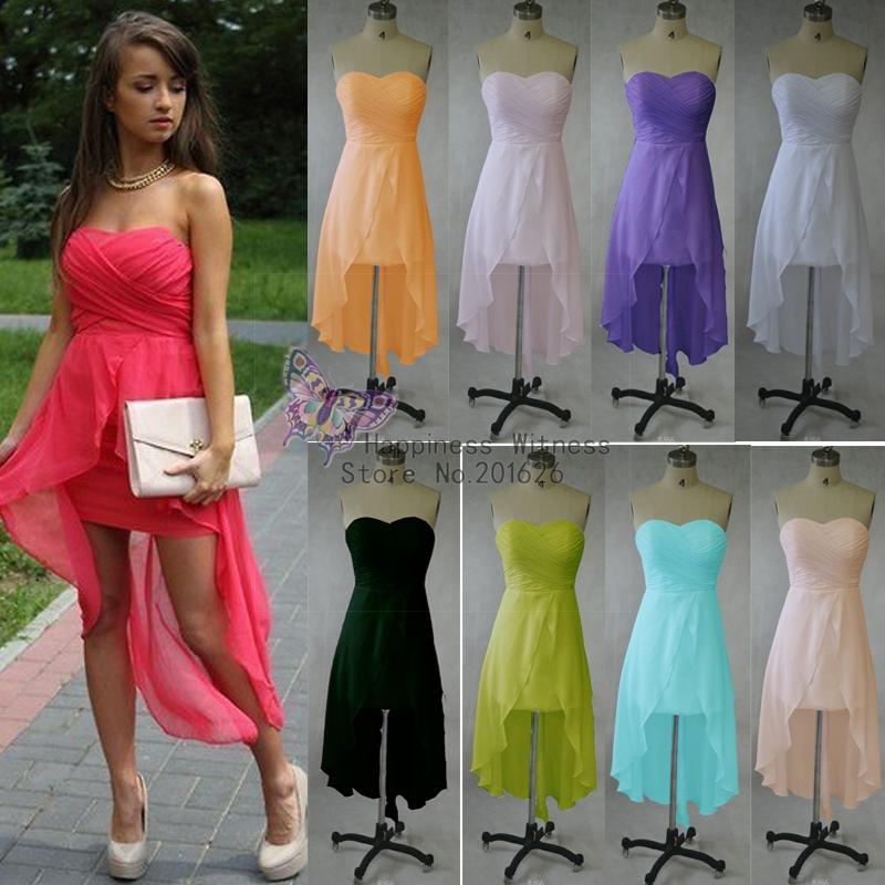 Stock Ankle Length Sweetheart Sleeveless Pleat Red Chiffon Short Front Long Back Evening Dresses-in Evening Dresses from Apparel & Accessories on Aliexpress.com