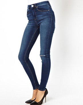 ASOS | ASOS Ridley Supersoft High Waist Ultra Skinny Jeans in Faded Authentic with Ripped Knee at ASOS