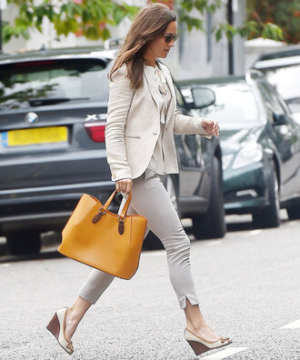 bag pants fall outfits blouse blazer pippa middleton streetstyle