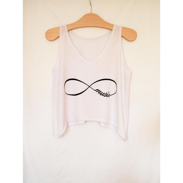 INFINITY MUSIC Tank top short, V neck tshirt for women rock... - Polyvore