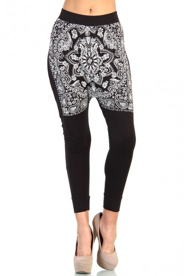 LoveMelrose.com From Harry & Molly | Bandana Print Pants - Black