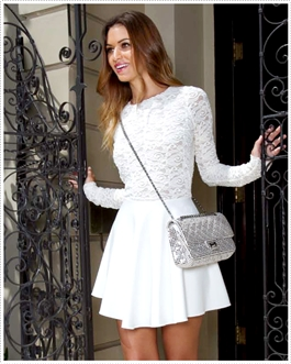 BOULEE Avery Lace Crochet Dress OFF white | Boulee Lace Long Sleeve Dress | Cameo Nouveau