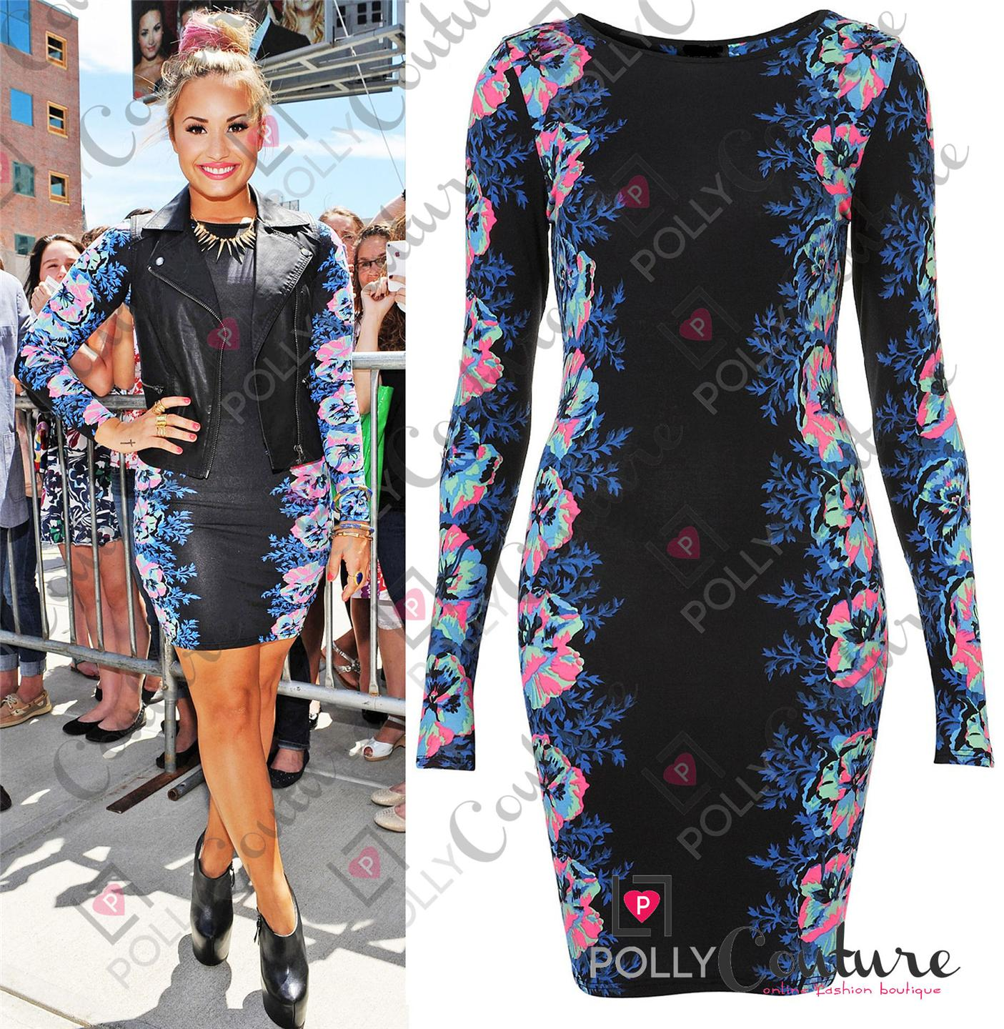 Womens Celeb Floral Print Long Sleeve Ladies Bodycon Party Evening Black Dress | eBay