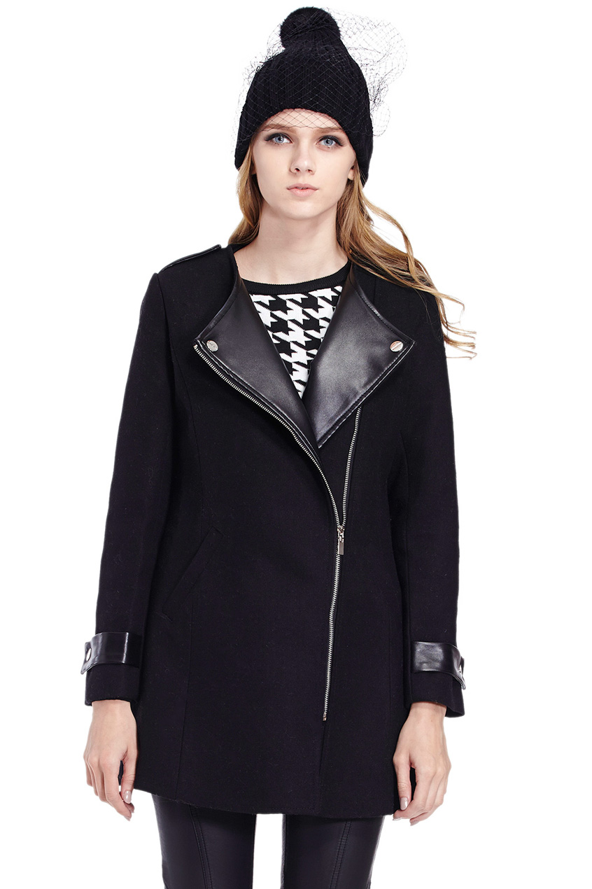 ROMWE | ROMWE Panel Faux Leather Long Sleeved Black Coat, The Latest Street Fashion
