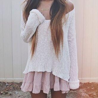 dress pink dotted pretty jada jada dress pink dotted jumper cozy cozy sweater vintage cute long hair skirt