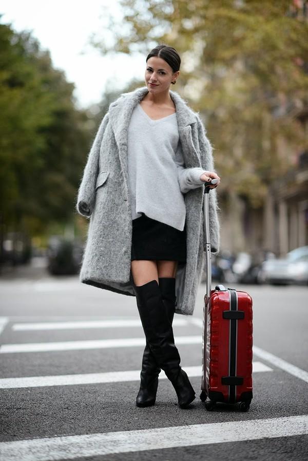 fashion vibe shoes skirt sweater bag coat
