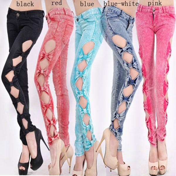 New Fashion Vintage Side Bow Cutout Ripped Denim Sexy Jeans Trousers Jeggings | eBay
