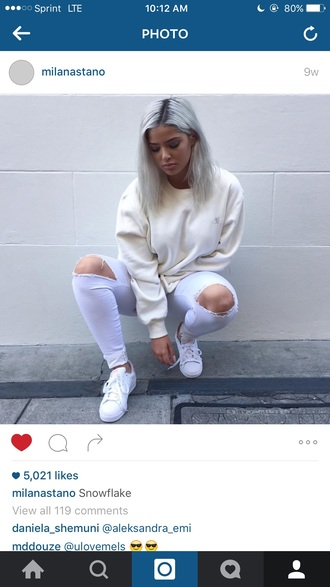 jeans lilac pastel shoes white white shoes purple sweater cream cream sweater cute tumblr pretty beautiful trendy baddies authentic edgy outfit on point clothing knee hole pants pastel purple tumblr outfit winter outfits