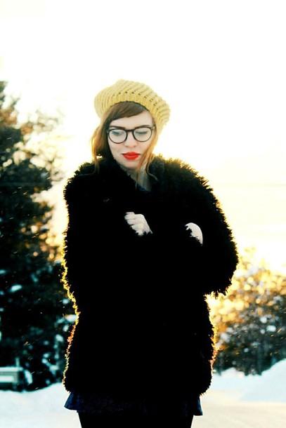 secret garden blogger beret fluffy winter coat