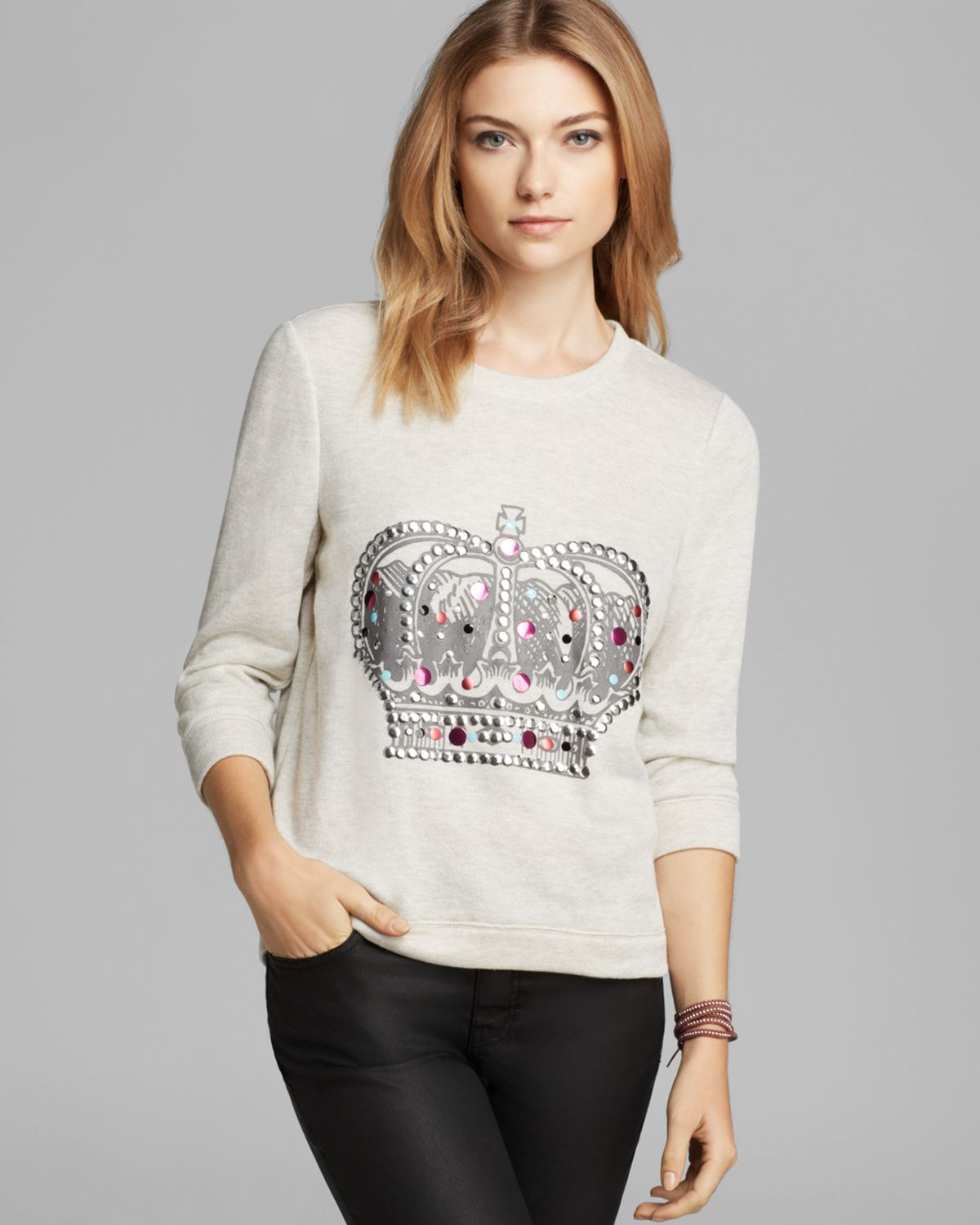 Aqua Sweatshirt - Jeweled Crown Crop | Bloomingdale's