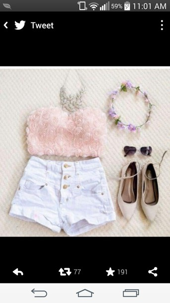shirt roses rose chiffon bandeau strapless top