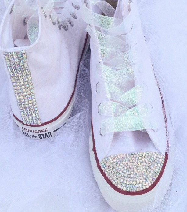 Completely new Rhinestone Bedazzled Glitter Converse Bride Wedding Quiceanera Bat  BE66