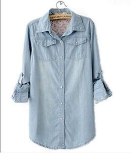 Women Lady Girl Retro Vintage Long Sleeve Blue Jean Denim Shirt Tops Blouse | eBay