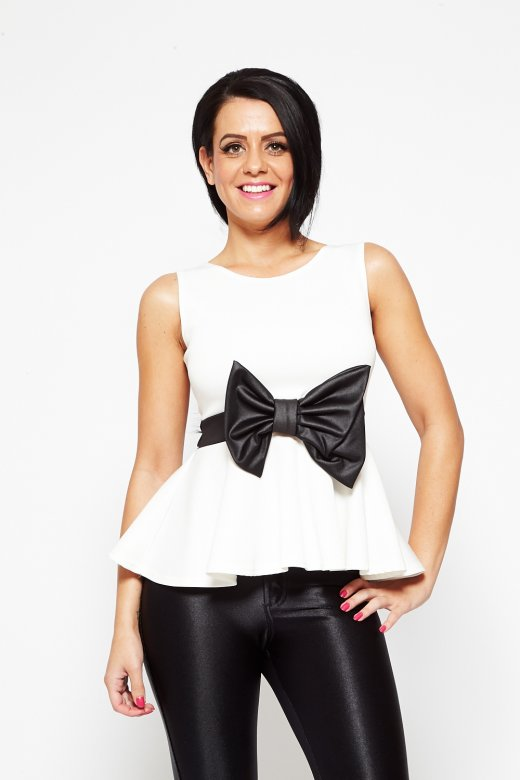 White & Black Oversized Bow Peplum Top  -  from Bronzed Glamour UK