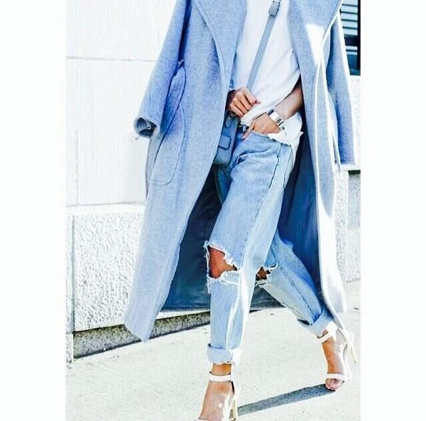 coat baby blue blue boyfriend coat it! killin it ha jeans shoes t-shirt bag blouse