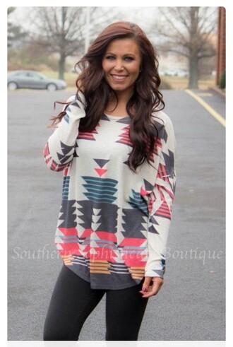 sweater top hoodie sweatshirt tribal pattern hippie boho bohemian long sleeves pattern colorful bohemian sweater colorful patterns shirt