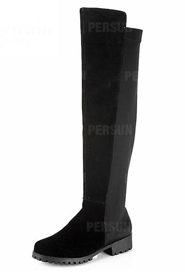 Cowhide Stitching Lycra Knee-high Boot [FABI1279] - PersunMall.com