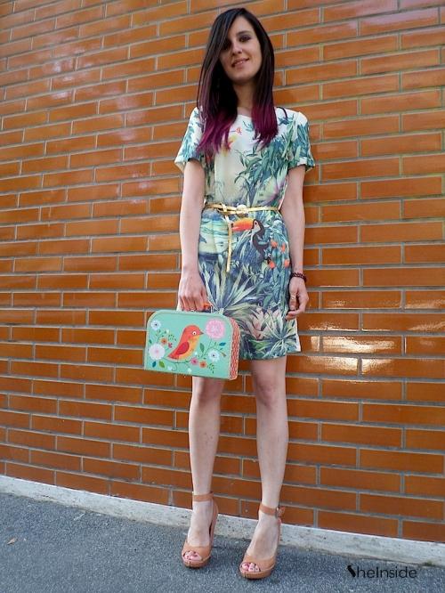 Green Short Sleeve Flower Birds Print Dress - Sheinside.com