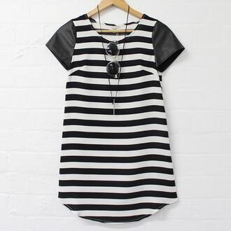 dress striped dress black and white dress shift sunglasses
