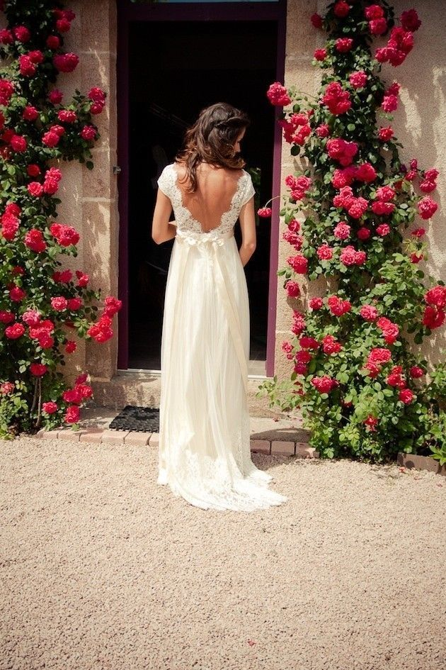 WowDresses — White Charming Bowknot A-line V-neck Sweep Train Open Back Lace Wedding Dress with Sash