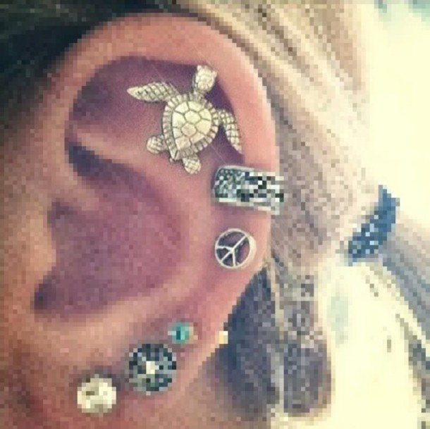 jewels turtle peace helix piercing zilver