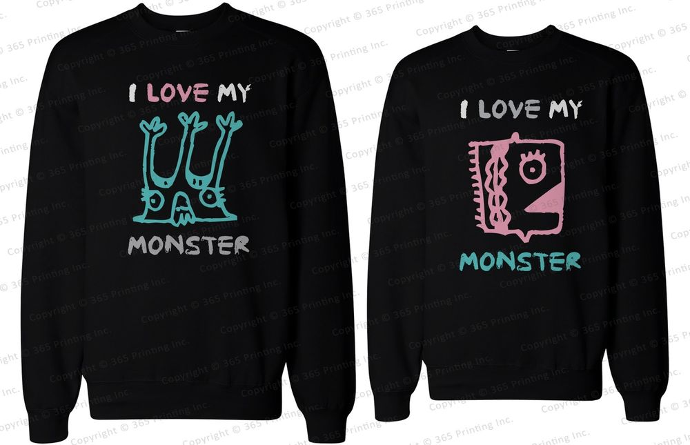 His and Her Matching Couple Sweatshirts I Love My Monster | eBay