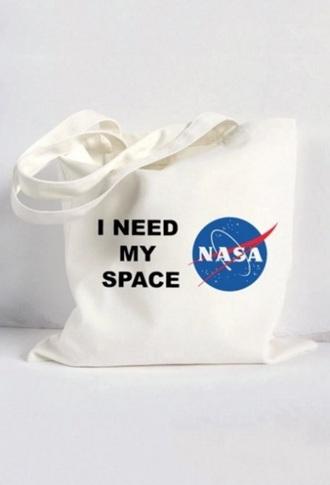 bag white shoulder bag nasa