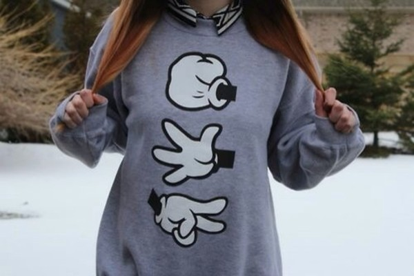 sweater grey hand singles mickey mouse sweater