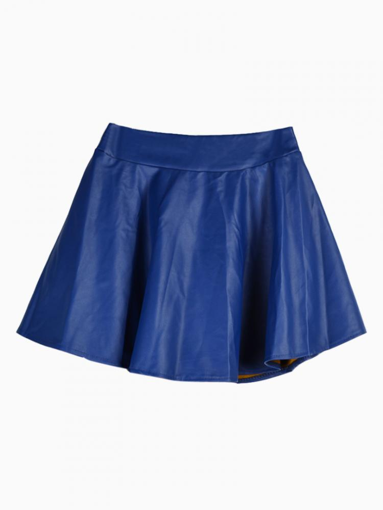 Blue Skater Skirt In Leather Look | Choies