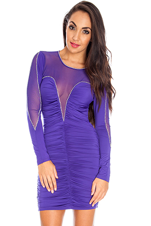 Mesh and diamante detail ruched mini dress