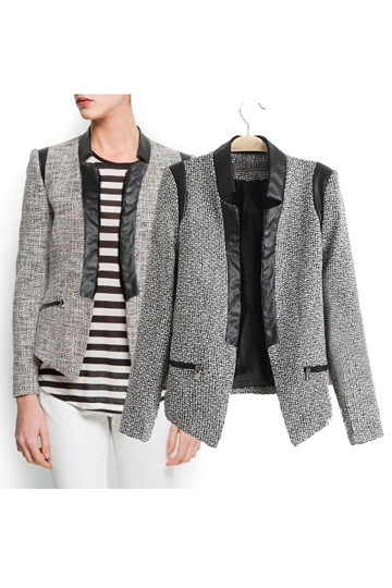 Pu Leather Collar Short Blazer [FEBK0168]- US$39.99 - PersunMall.com