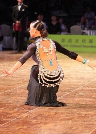 dress anna melnikova swarovski strass paillettes l latin dance dress open back black dress