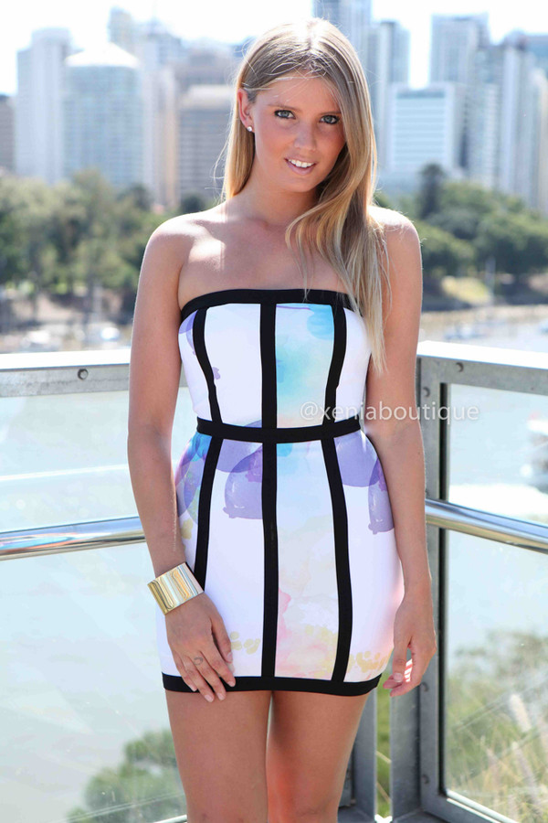 dress xeniaboutique ootd ootn women's clothing bodycon watercolour white dress