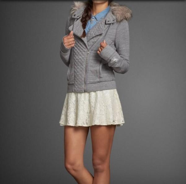 jacket abercrombie & fitch abercrombie & fitch abercrombie & fitch abercrombie & fitch a&f winter jacket grey skirt shirt jeans clothes