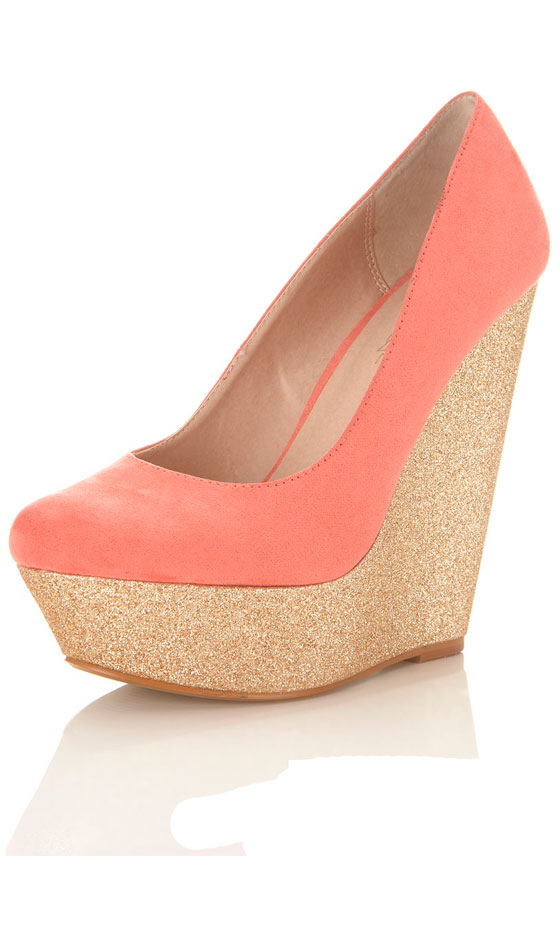 Miss Selfridge Coral Glitter Wedge, £45 | Look