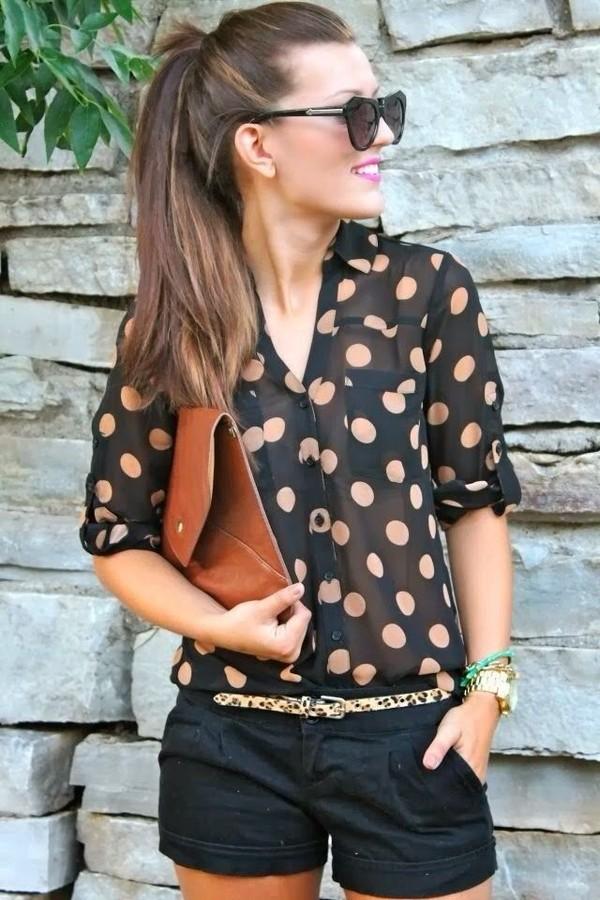 blouse polka dots black pink shorts belt navy peach sheer gorgeous