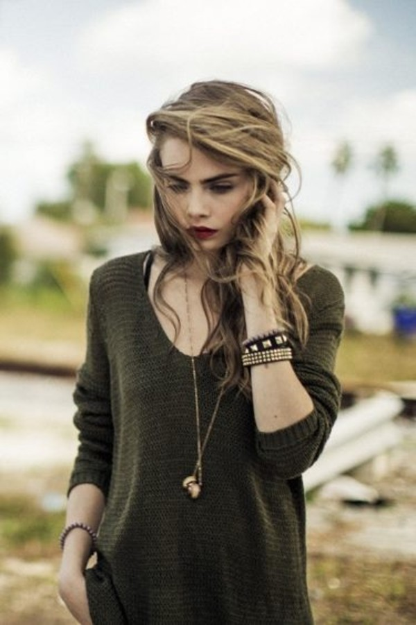 sweater green sweater cara delevingne delevigne is queen necklace long necklace army green dark green winter outfits winter style
