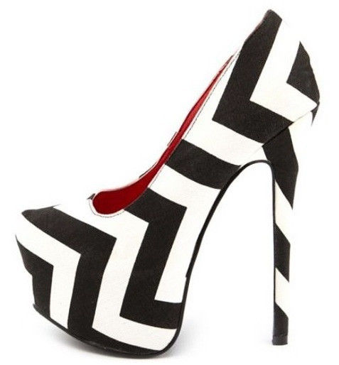 Black White Chevron Canvas Almond Toe Platform High Heel Pump Shoe | eBay
